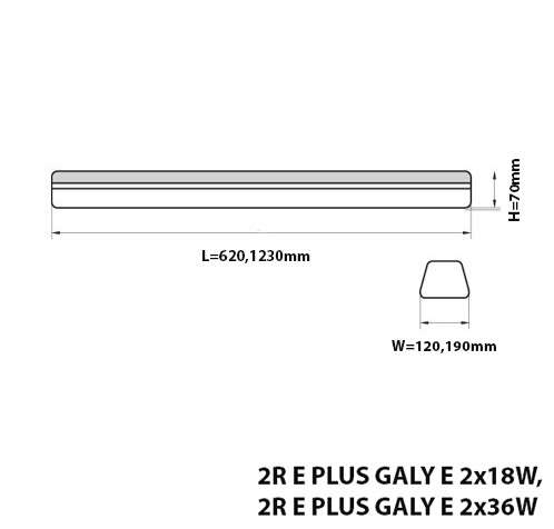 LIGHTING FIXTURE E PLUS GALY IP44 FOR T8 TUBES DRAWING