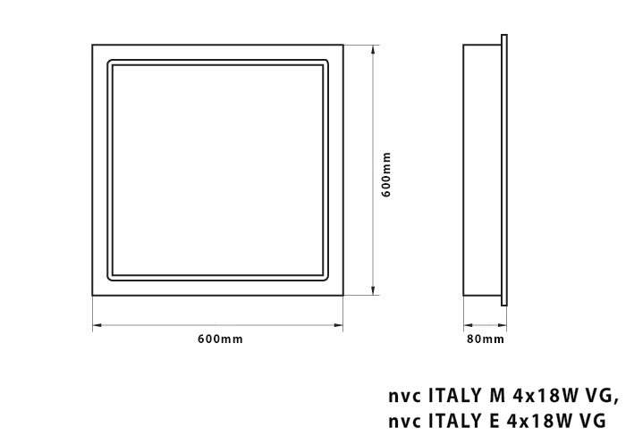 FLUORESCENT LUM. ITALY VG FOR T8 TUBES /RECESSED MOUNTING/ DRAWING