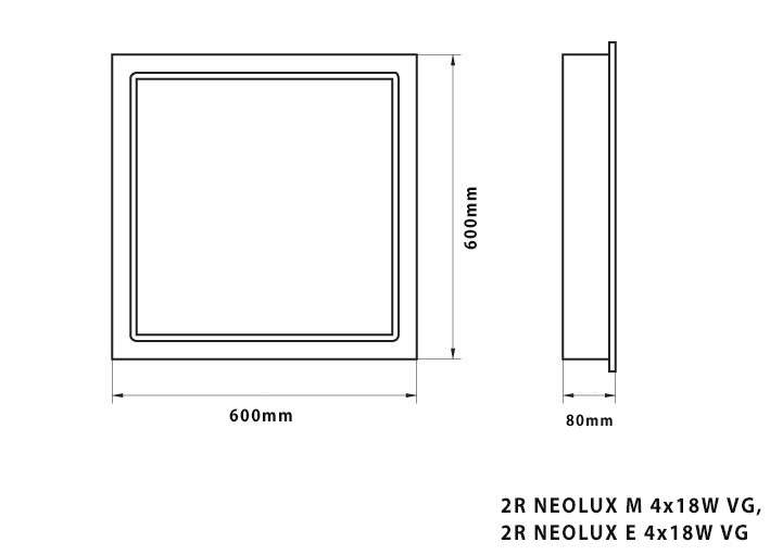 FLUORESCENT LUM. NEOLUX VG FOR T8 TUBES /RECESSED MOUNTING/ DRAWING